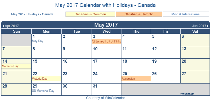 Print Friendly May 2017 Canada Calendar for printing