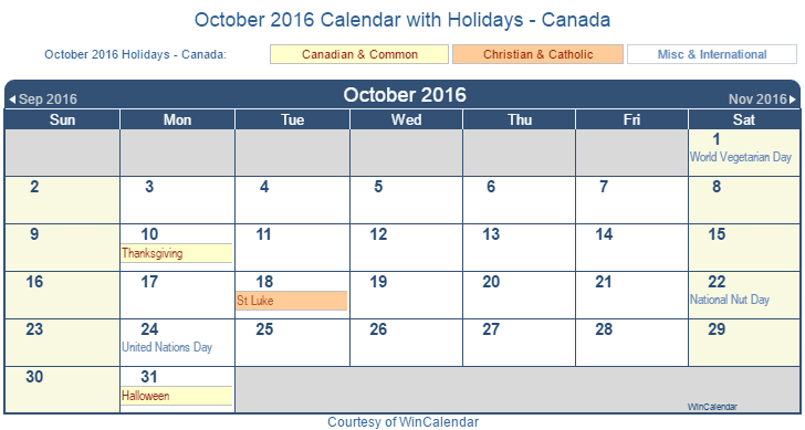 Print Friendly October 2016 Canada Calendar for printing