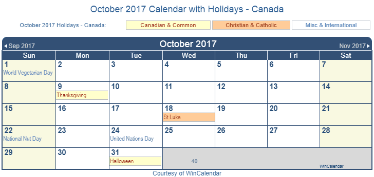 October 2017 Calendar With Holidays Canada