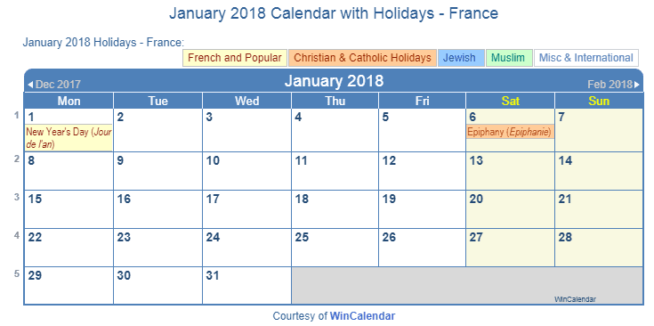 Print Friendly January 2018 France Calendar for printing