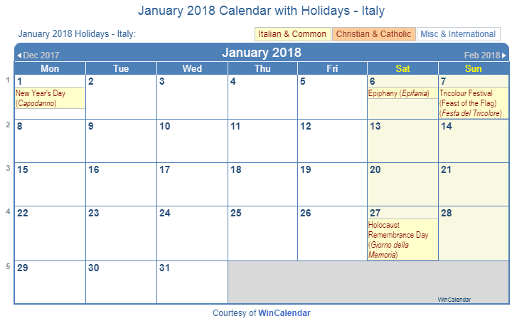 Print Friendly January 2018 Italy Calendar for printing