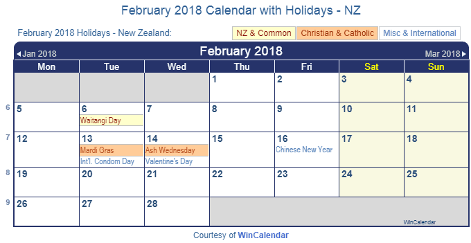 Print Friendly February 2018 New Zealand Calendar for printing