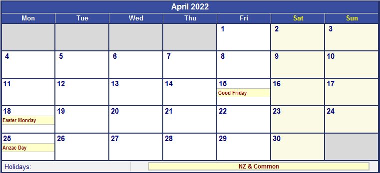 April Calendar Nz : April new zealand calendar with holidays for printing