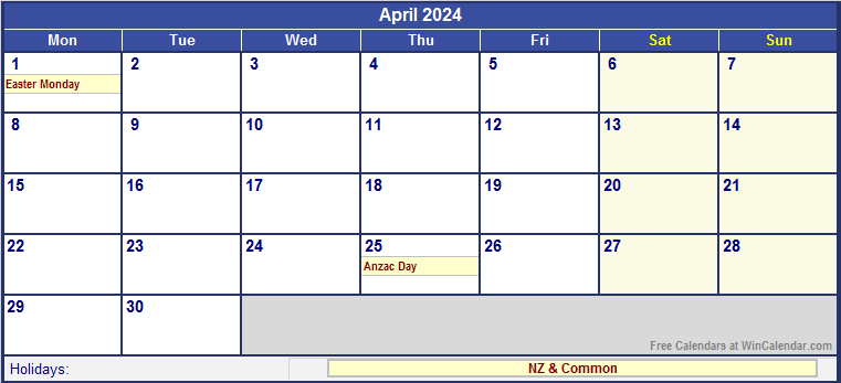 April 2024 New Zealand Calendar with Holidays for printing ...