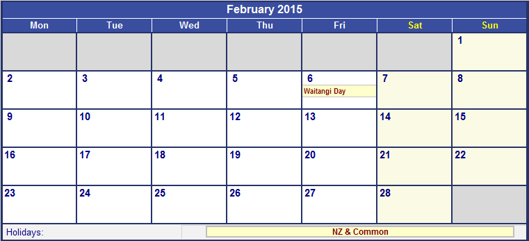 February 2015 New Zealand Calendar with Holidays for printing (image ...