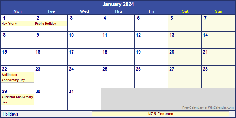 Family Planner Calendar Nz : January new zealand calendar with holidays for