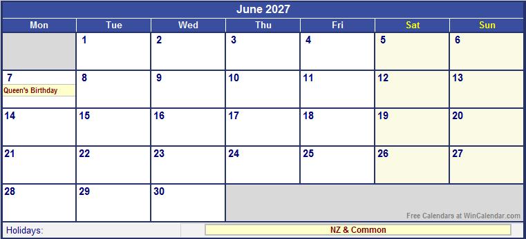 June Calendar New Zealand : June new zealand calendar with holidays for printing