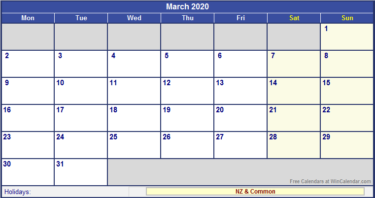 March 2020 New Zealand Calendar with Holidays for printing (image ...