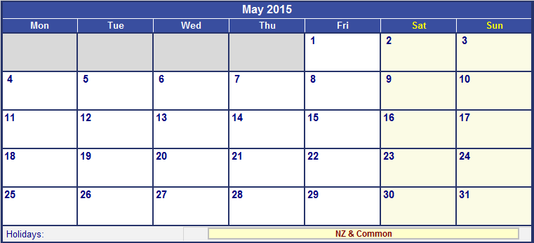 May Calendar New Zealand : May new zealand calendar with holidays for printing