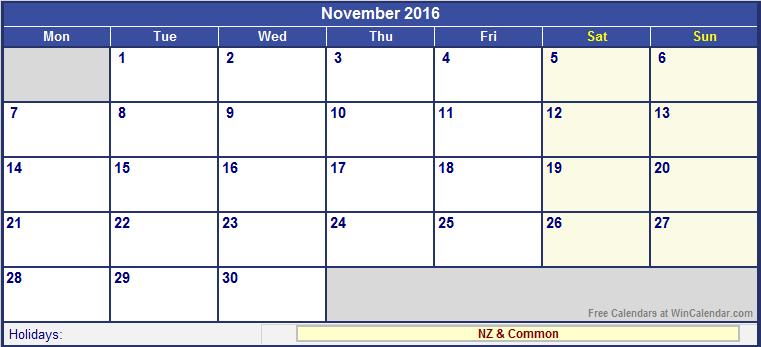 November 2016 New Zealand Calendar with Holidays for printing (image ...