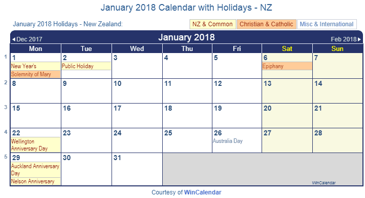 Print Friendly January 2018 New Zealand Calendar for printing
