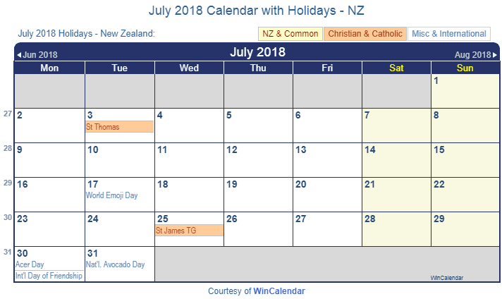 Print Friendly July 2018 New Zealand Calendar for printing