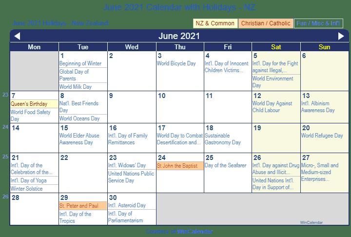 June Calendar New Zealand : Print friendly june new zealand calendar for printing