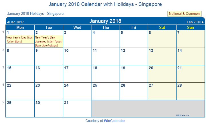 Print Friendly January 2018 Singapore Calendar for printing