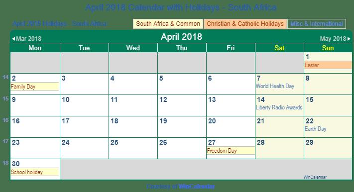 Calendar April South Africa : Print friendly april south africa calendar for printing