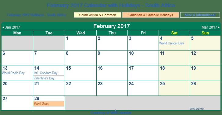 Printable February 2017 Calendar with Holidays -South Africa