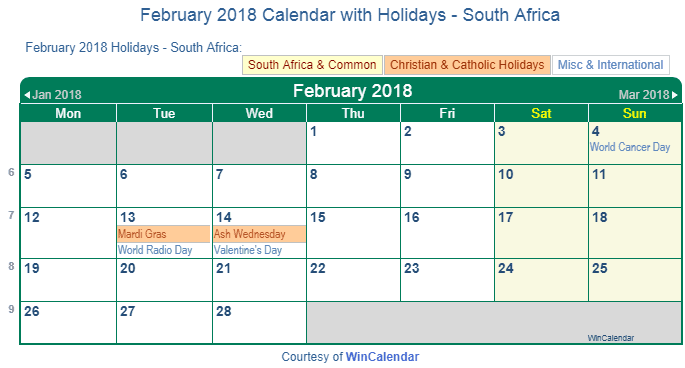 Print Friendly February 2018 South Africa Calendar for printing