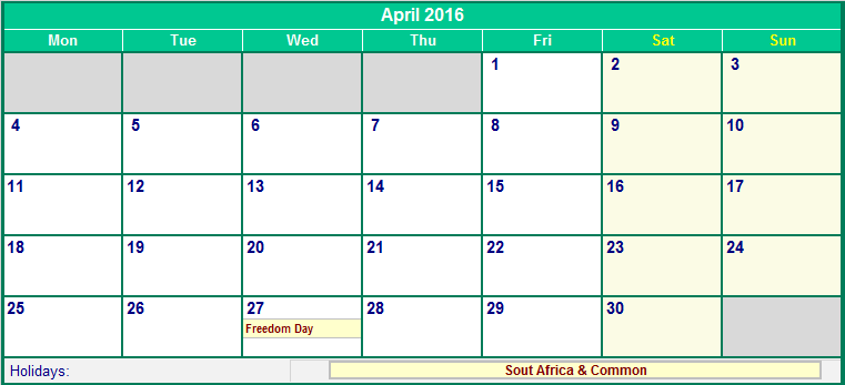 April 2016 South Africa Calendar with Holidays for printing (image ...