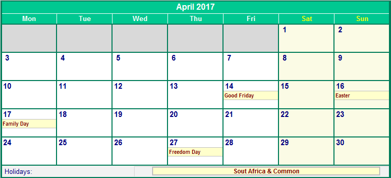 April 2017 South Africa Calendar with Holidays for printing (image ...