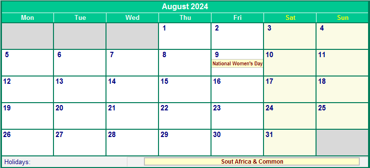 August 2024 South Africa Calendar with Holidays for ...