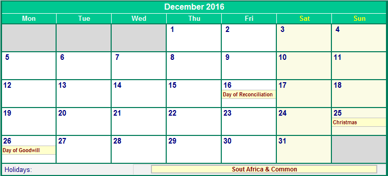 December 2016 South Africa Calendar with Holidays for printing (image ...