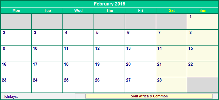 February 2015 South Africa Calendar with Holidays for ...