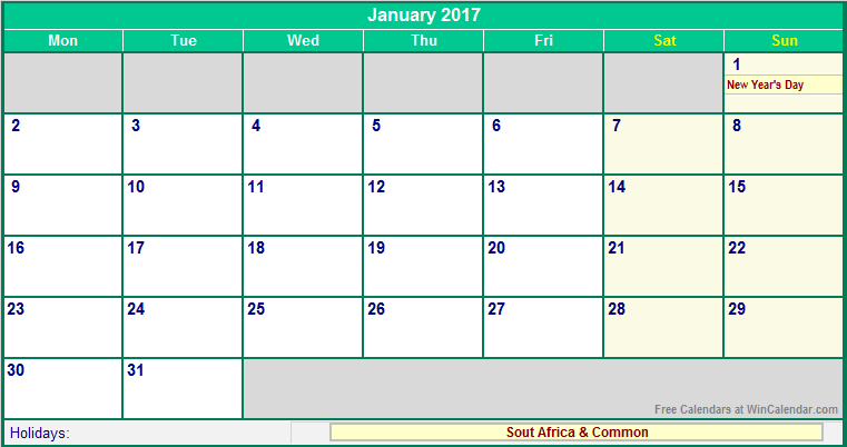 Calendar South Africa Printable : January south africa calendar with holidays for