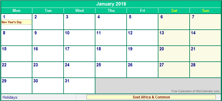 January 2018 South Africa Calendar With Holidays For