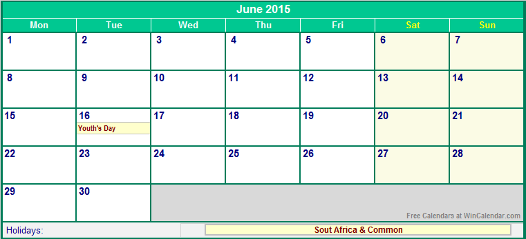 June 2015 South Africa Calendar with Holidays for printing
