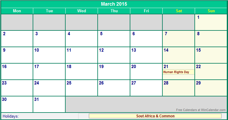 March 2015 South Africa Calendar with Holidays for printing (image ...