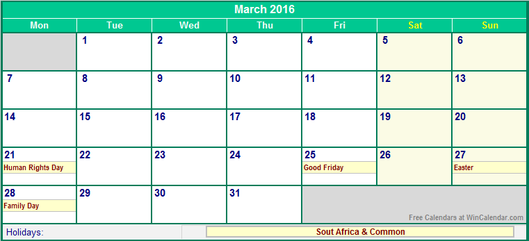 March 2016 South Africa Calendar with Holidays for printing (image ...