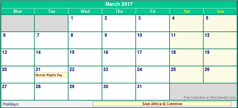 ... 2017 South Africa Calendar with Holidays for printing (image format
