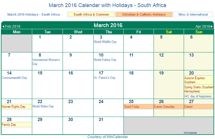 Calendar South Africa With Holidays : Print friendly march south africa calendar for printing