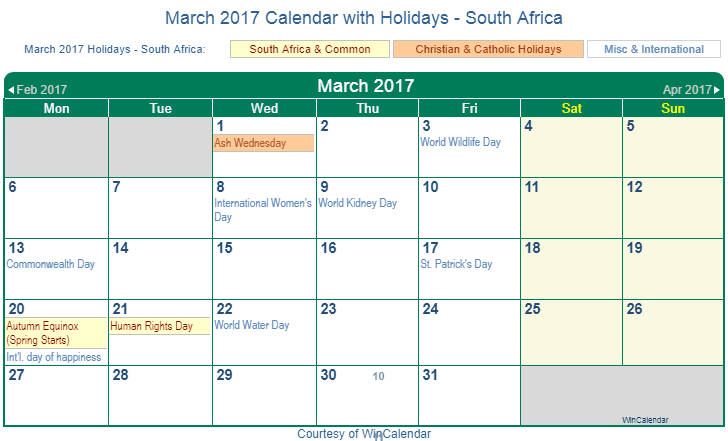 Printable March 2017 Calendar with Holidays -South Africa