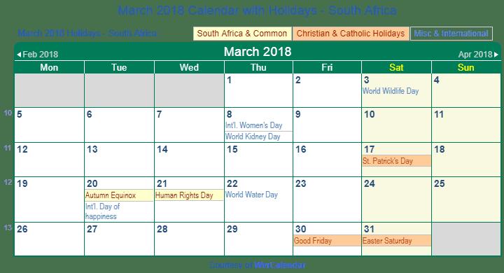 Calendar March 2018 South Africa : Print friendly march south africa calendar for printing