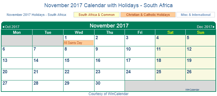 Print Friendly November 2017 South Africa Calendar for ...