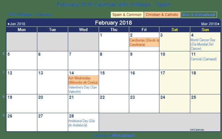 Print Friendly February 2018 Spain Calendar for printing