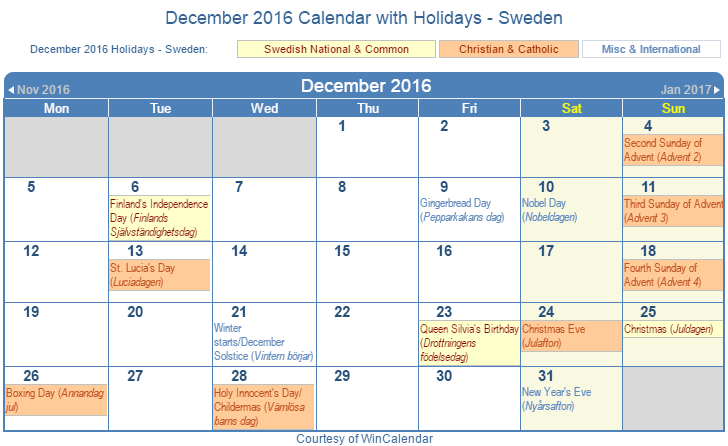 Printable December 2016 Calendar with Holidays -Sweden