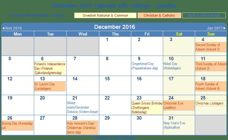 Print Friendly December 2016 Sweden Calendar for printing
