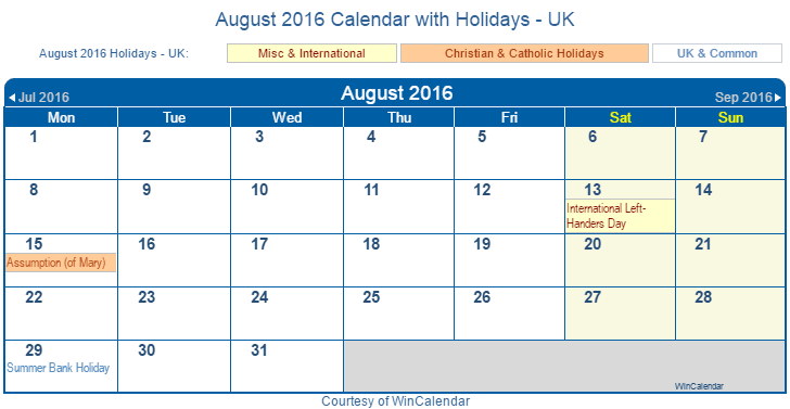 ... 2016 Calendar with UK Holidays (Including Christian and religious