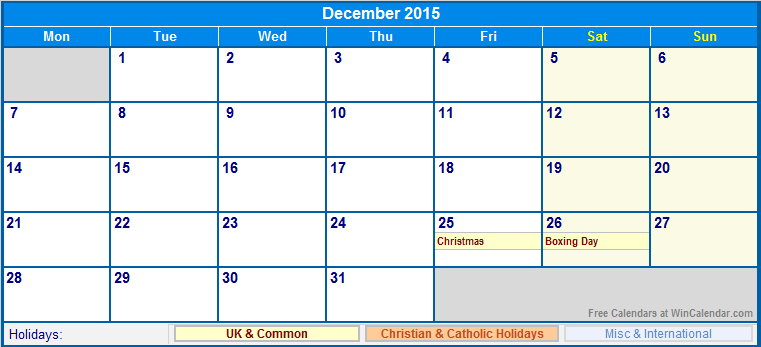 December 2015 Printable Calendar with UK, Christian, & International ...