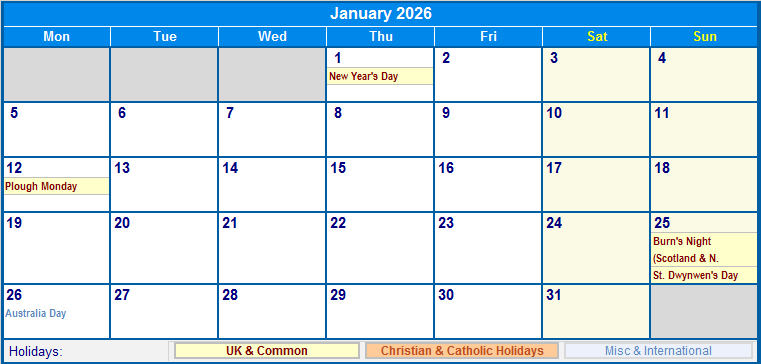 january 2026 uk calendar with holidays for printing  image