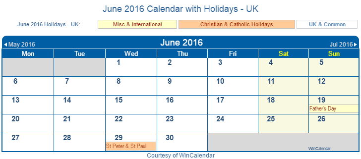 Printable June 2016 Calendar with Holidays -UK