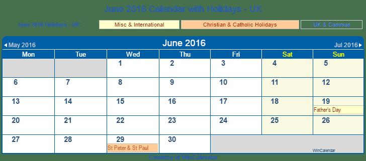 Printable June 2016 Calendar with Holidays -UK