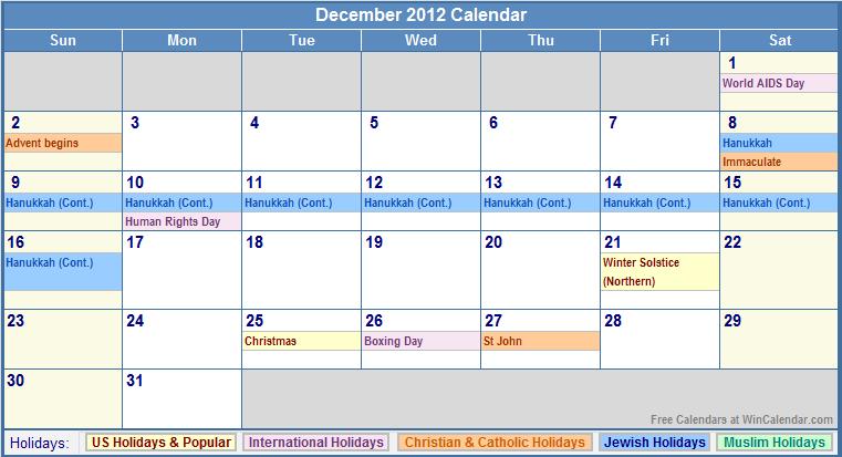 Calendar Reform Ideas : December calendar with holidays