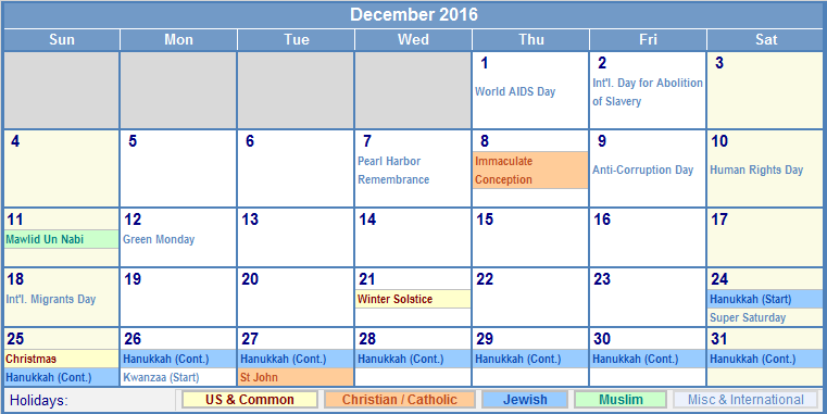 December Calendar 2016 With Holidays : December calendar with holidays as picture