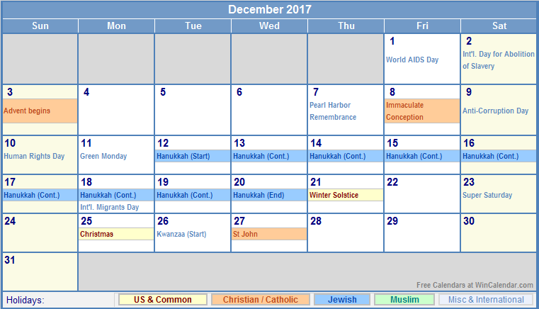 Non Christian Holidays In December