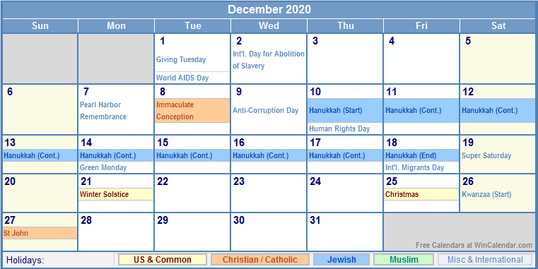 December 2020 US Calendar with Holidays for printing ...