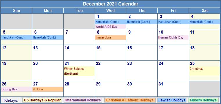 December 2021 Calendar with US, Christian, Jewish, Muslim & Holidays