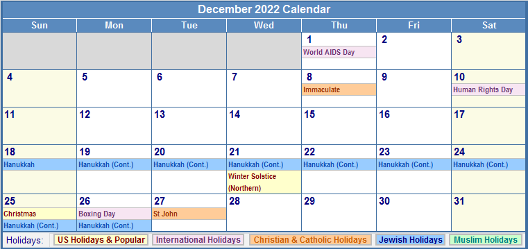 December 2022 calendar with us christian jewish muslim amp holidays